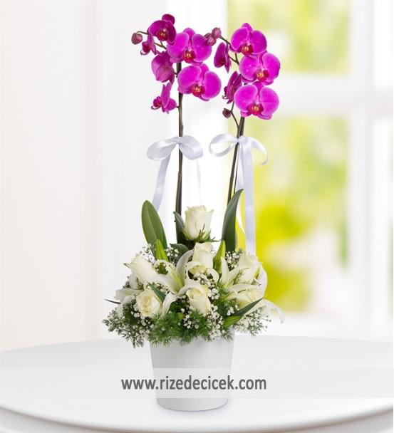 Orkideli Lilyum Gül Aranjmanı